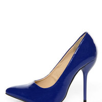 Fahrenheit Zara 02 Blue Patent Pointed Pumps - $34.00