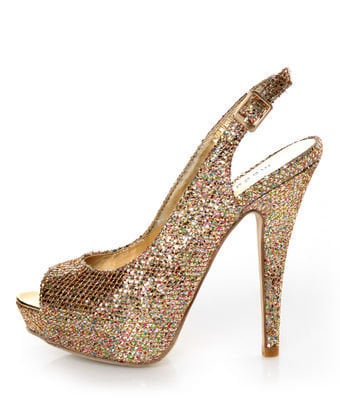 Madden Girl Jassperr Gold Multi Glitter Peep Toe Party Pumps - $44.00