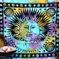 Indian Sun Hippie Hippy Tapestry Wall Hanging Throw Tie Dye Hippie Hippy Boho Bohemian Tye Die Hand-Loomed Window Doorway Door Curtain