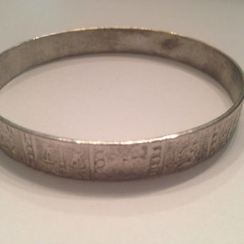 Vintage Mexican Silver Bangle Bracelet Embossed Mexican Jewelry