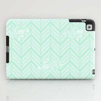 Pastel Mint Chevron Floral iPad Case by BeautifulHomes