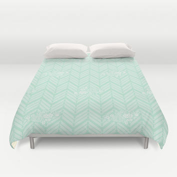 Pastel Mint Chevron Floral Duvet Cover by BeautifulHomes