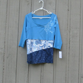 Women's Large Altered, Upcycled Royal Robbins Tee /ooak / mixed up blues