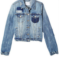 Denim Jacket with Patches - Medium Blue
