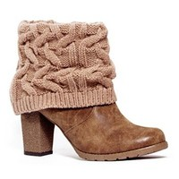 MUK LUKS Brown Chris Women's Knit-Cuff Ankle Boots