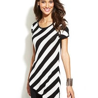 INC International Concepts Cap-Sleeve Striped Asymmetrical Sweater