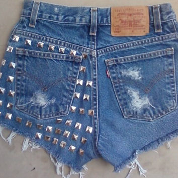 Vintage Spiked/Studded Highwaisted Jean Shorts