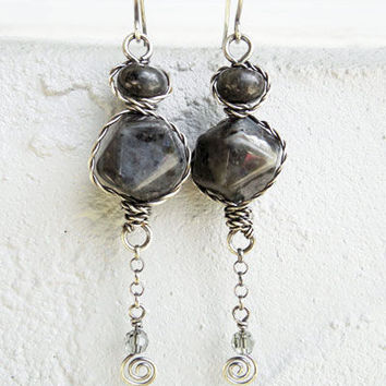 Boho style earrings with Larvikite