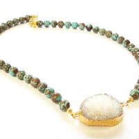Turquoise Brown with White Druzy Quartz Necklace,  Blue Gemstone Agate Beaded Necklace, Gold Jewelry Fashion Jewelry