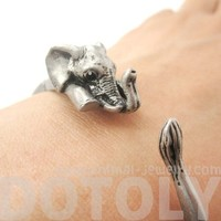 3D Baby Elephant Animal Wrap Around Bangle Bracelet in Silver