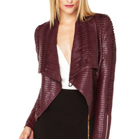Pleated Bomber Jacket in Burgundy