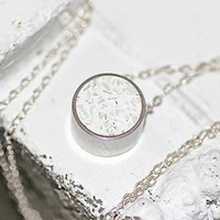 Circle Pendant / Necklace - Stainless Steel and Titanium White Tinted Concrete with Crushed Glass