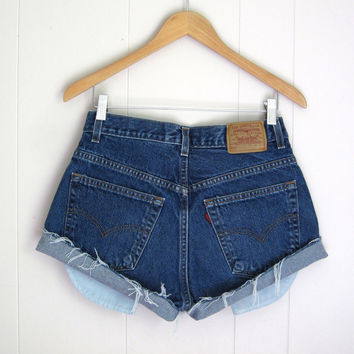 Vintage Levi's Mid High Waisted Cut Off Denim Shorts Jean Cuffed 29""