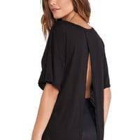 Blue Life Fit Open Back Best Bum Tee in Black