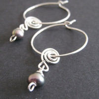 Sterling silver hoop pearl earrings