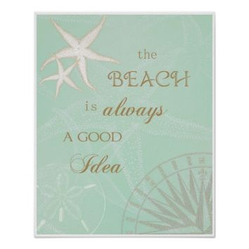 Beach Good Idea Sea Green Starfish Art Poster