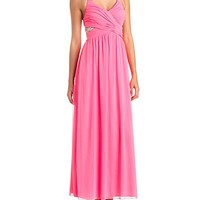 Embellished Cut-Out Ruched Halter Maxi Dress