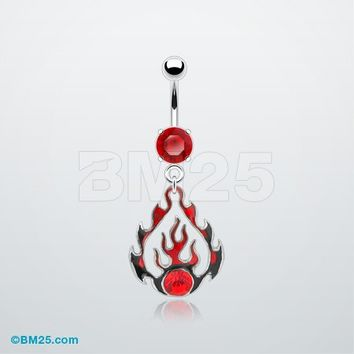 Retro Flame Belly Ring