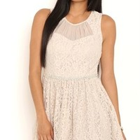 Short Lace Homecoming Dress with Pleated Illusion Neckline