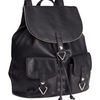 H&M - Imitation Leather Backpack - Black - Ladies