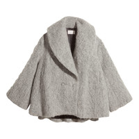 H&M - Wide-cut Wool-blend Jacket - Light gray - Ladies