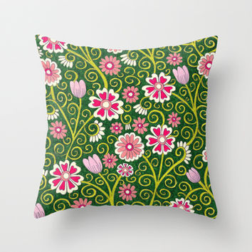 Forest Flowers Throw Pillow by PeriwinklePeacoat | Society6
