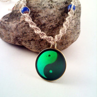RESERVED - Glass Ying Yang Sign Hologram Phat Hemp Necklace