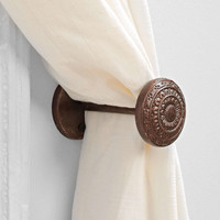 4040 Locust Engraved Doorknob Curtain Tie-Back- Bronze One