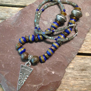 African Tribal Necklace, Ethnic, Bohemian, Handmade, Jewelry