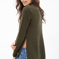 FOREVER 21 Side-Slit Knit Sweater Olive