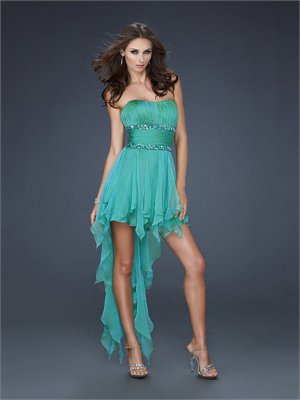 High-low Strapless Scoop Neckline with Beaded Waistband and Ruffles Prom Dress PD10899 Online Sale