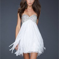 Strapless Beaded Sweetheart Neckline Layered Chiffon Prom Dress PD10718 Online Sale