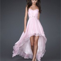 High Low Strapless Sweetheart Neckline with Beaded Wasit Prom Dress PD10956 Online Sale