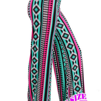 Mint and Fuchisa Aztec Print Plus Palazzo Pants (1XL-3XL)