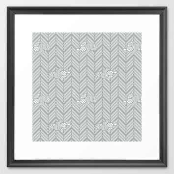 Pastel Gray Chevron Floral Framed Art Print by BeautifulHomes