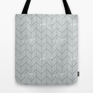 Pastel Gray Chevron Floral Tote Bag by BeautifulHomes