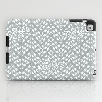 Pastel Gray Chevron Floral iPad Case by BeautifulHomes