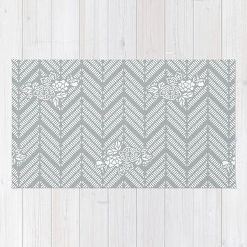 Pastel Gray Chevron Floral Area & Throw Rug by BeautifulHomes