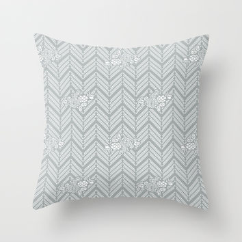 Pastel Gray Chevron Floral Throw Pillow by BeautifulHomes