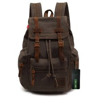 EcoCity Vintage Canvas Backpack Rucksack Schoolbag (army green):Amazon:Clothing