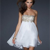 Short Strapless Empire with hand painted beadework Chiffon Prom Dress PD1917