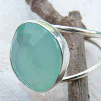 Aqua chalcedony rose cut ring - sterling silver ring - made to order