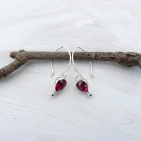 Ruby earrings in sterling silver - bezel set ruby - rose cut ruby earrings - red earrings - rubies