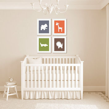 Safari Nursery Decor, Chevron Animal Silhouettes - Set of Four 8x10 Kid's Art Prints, Elephant, Giraffe, Crocodile, & Lion - You Pick Colors
