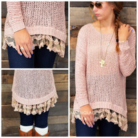 Visions Of Love Dust Pink Tunic Sweater