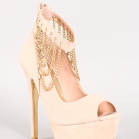 Liliana Luxy-13 Draped Chain Peep Toe Pump