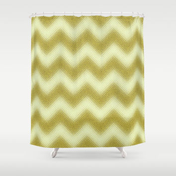 Chevron Gold Berry Shower Curtain by Alice Gosling | Society6
