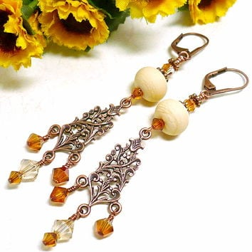 Elegant Ivory Lampwork Swarovski Crystal Copper Chandelier Earrings