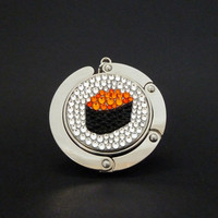 Sushi - Ikura foldable bag hanger, purse hook, bag holder made with Swarovski flatback crystals