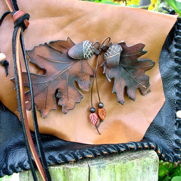 Hand Stitched Leather Purse Cross Body Bag, Hand Cut Oak Leaves and Acorns, Beads & Fringe, Boho Chic, Hippie Style, HoBo Style, Brown